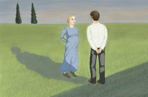An illustration of two figures facing each other in an open field at sunset. Two tall, skinny trees stand in the background. The female figure is a Mennonite woman in a blue dress who is pregnant. She is facing the man, who stands in the foreground, back to the viewer.
