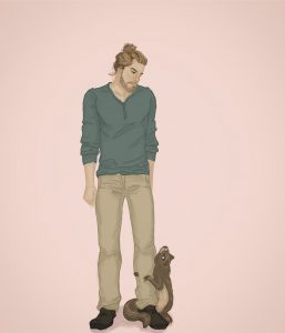 An illustration of a tall, muscular man with a bun looking down skeptically at a marmot that is hugging his leg and looking adoringly up at him on a pink background.